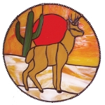 Southwest Deer Glass Panel