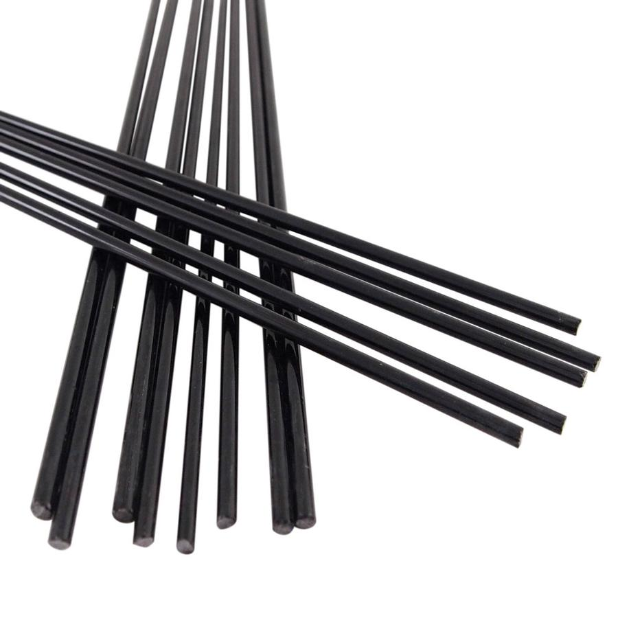 12 Black Opaque Glass Rods Diamond Tech